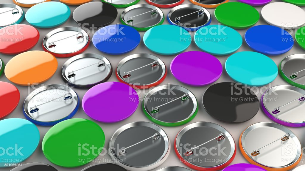 Blank colorful badges on white background stock photo