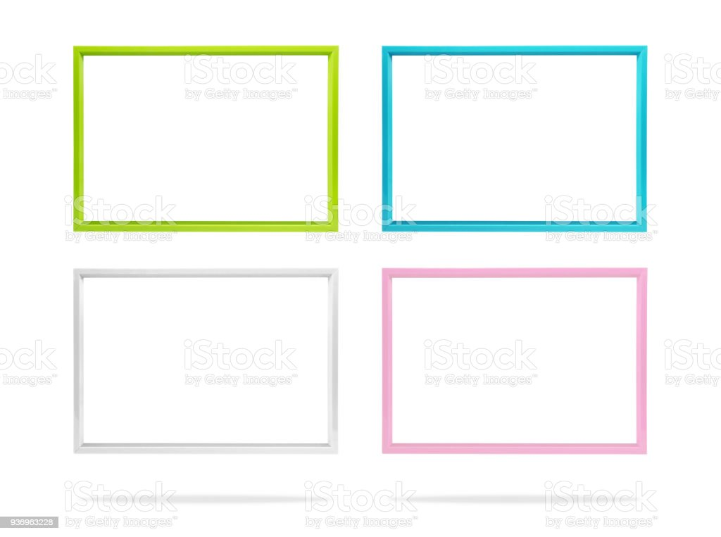 Blank Colorful Photo Frame Template Set On Isolated Background With
