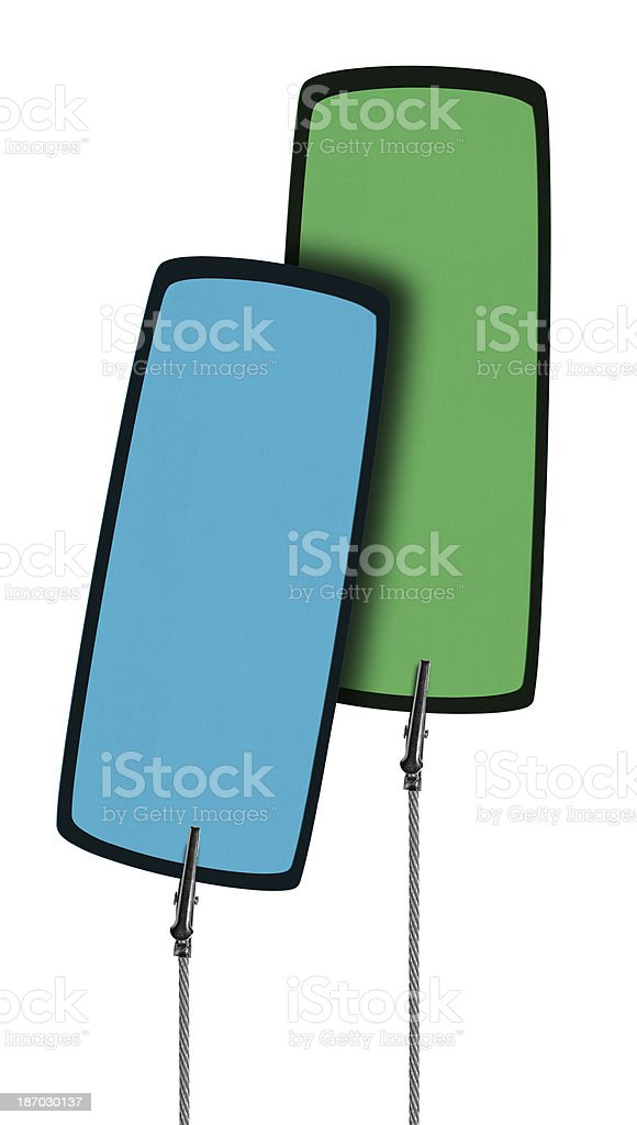 Blank Colorful Tag  in Wire Clamp 2 (Clipping Path) royalty-free stock photo