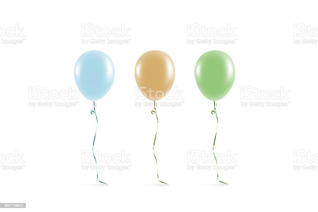 Blank coloured balloon mock ups isolated stock photo