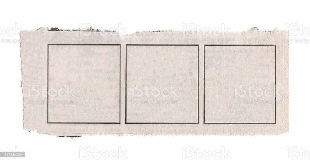Blank Comic Strip from Newspaper royalty-free stock photo