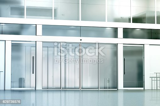 istock Blank commercial building glass entrance mockup 629739376