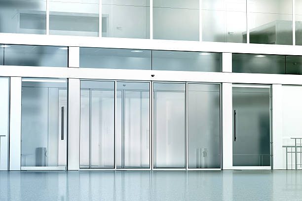 blank commercial building glass entrance mockup - building entrance stock photos and pictures
