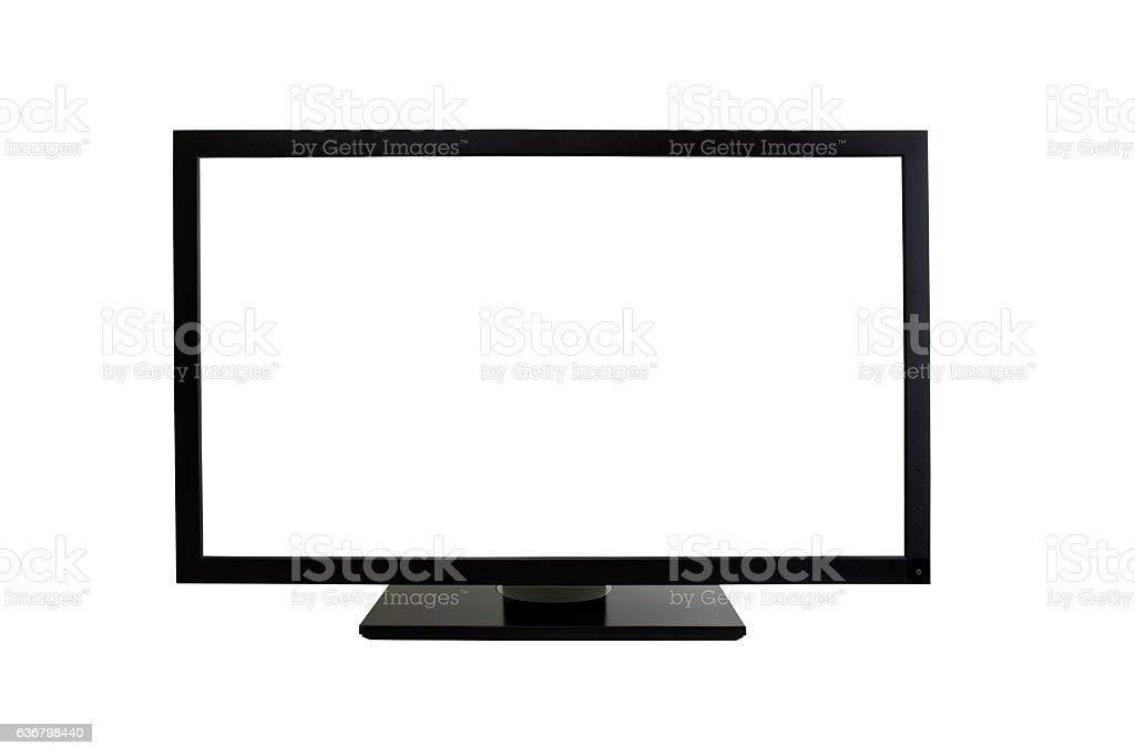 Blank computer monitor on white stand stock photo