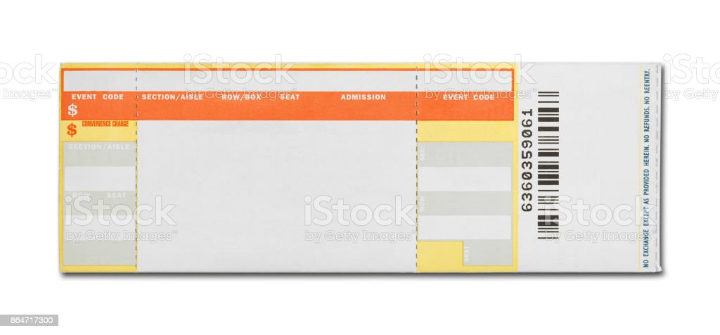 Blank Concert Ticket stock photo