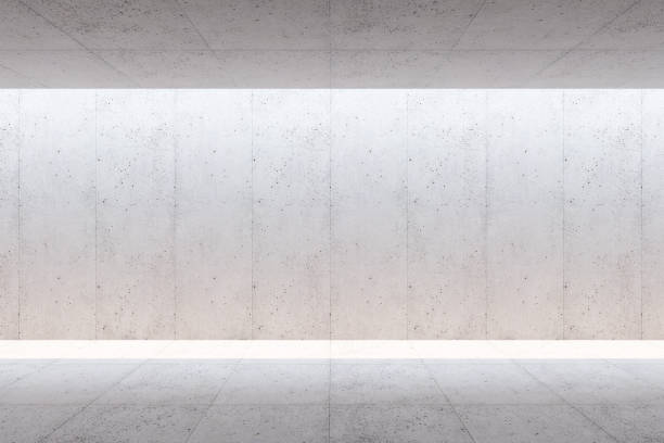 blank concrete space interior, 3d rendering stock photo