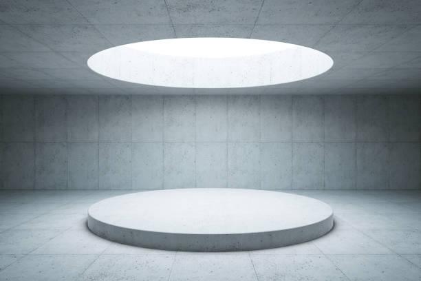 intérieur de l'espace concret, rendu 3d - show room photos et images de collection