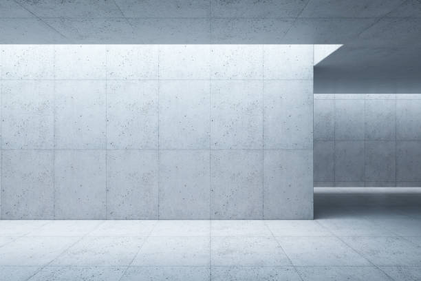 blank concrete space interior, 3d rendering - industrial modern stock photos and pictures