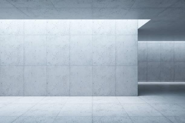 blank concrete space interior, 3d rendering stock photo