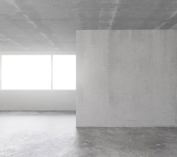 weiße betonwand im innenraum mit copyspace - betondecke stock-fotos und bilder