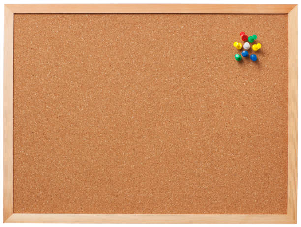 blank cork board with pins. - bulletin board stock pictures, royalty-free photos & images