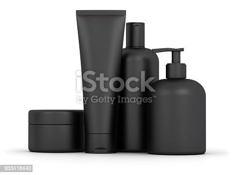 Blank cosmetic set. Digitally Generated Image isolated on white background