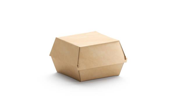 blank craft burger box mockup, isolated, side view - karton zbiornik zdjęcia i obrazy z banku zdjęć