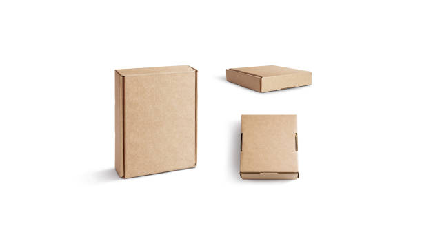Blank craft corrugated box mock up isolated, stand and lying stock photo