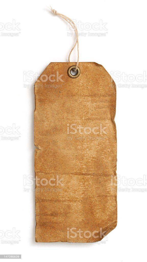 Blank creased brown tag on white background stock photo