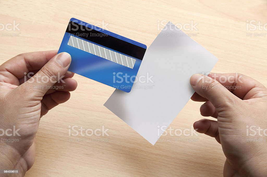 Blank credit card and receipt royalty-free stock photo
