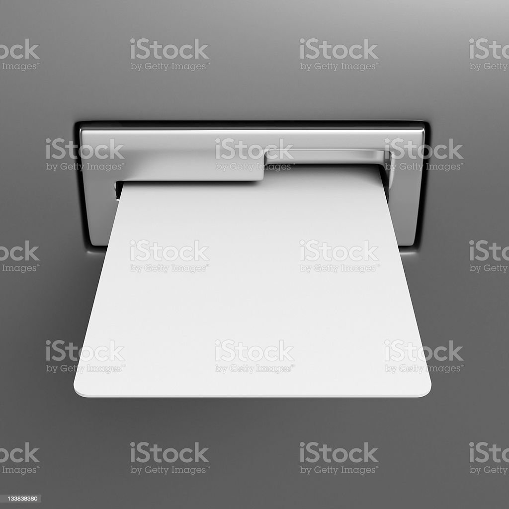 Blank credit card in cash point slot stock photo