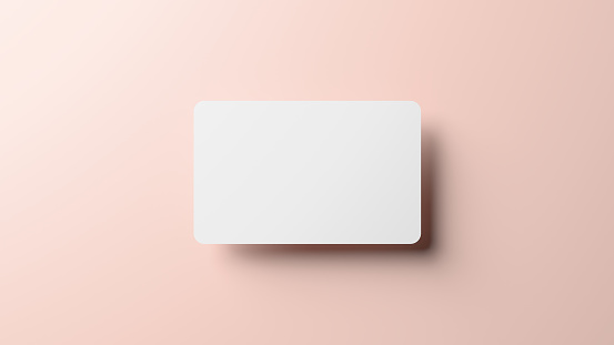 Blank credit card mockup floating over a neutral background in 3D rendering. Rounded corners business card mock up for design template