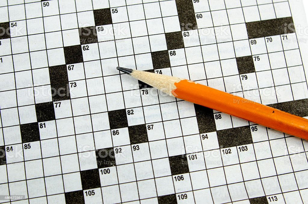 Blank Crossword Puzzle Background Pencil Royalty Free Stock Photo