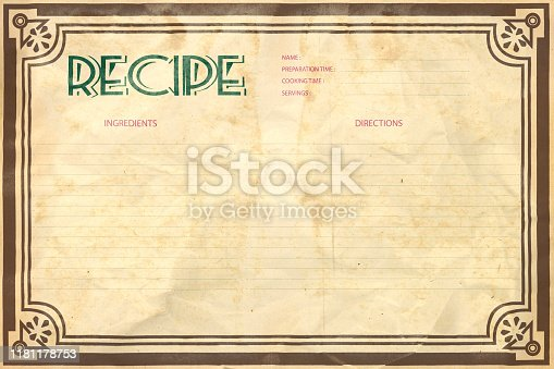 Old crumpled grunge retro recipe card layout