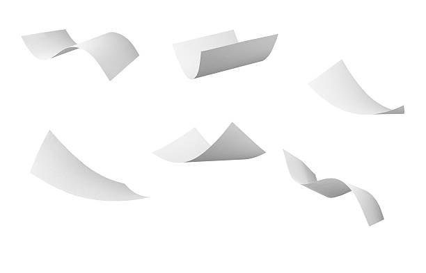 blank curl paper flying in wind - flying stock photos and pictures
