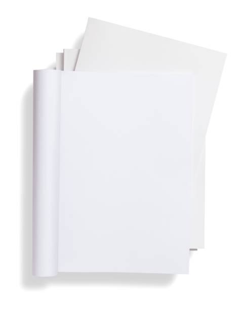 Blank curved magazine on magazines stack stock photo