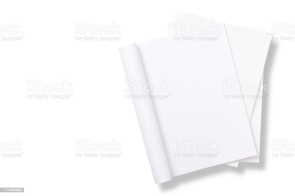 Blank curved magazine on magazines stack stock photo