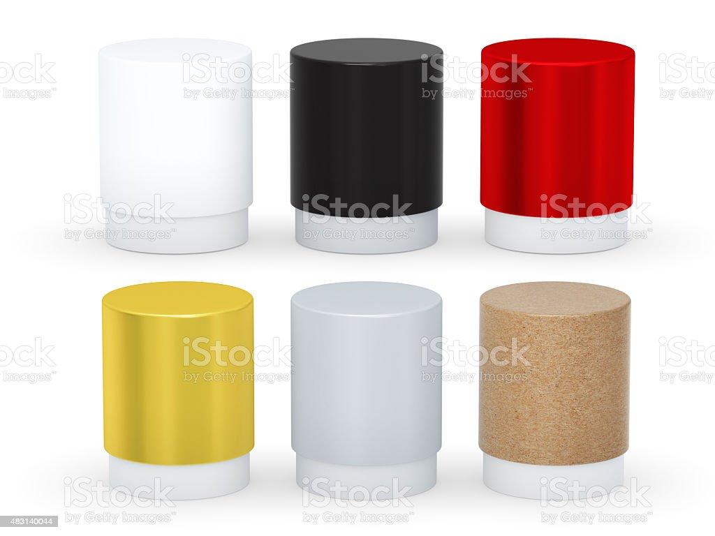 Blank cylindrical box packaging set with cap, clipping path stock photo