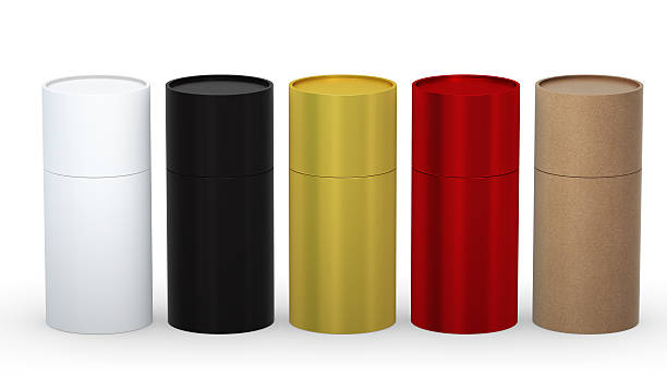 Blank cylindrical box packaging set with clipping path stock photo