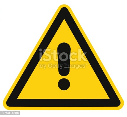 istock Blank Danger And Hazard Triangle Warning Sign Isolated Macro 179014856