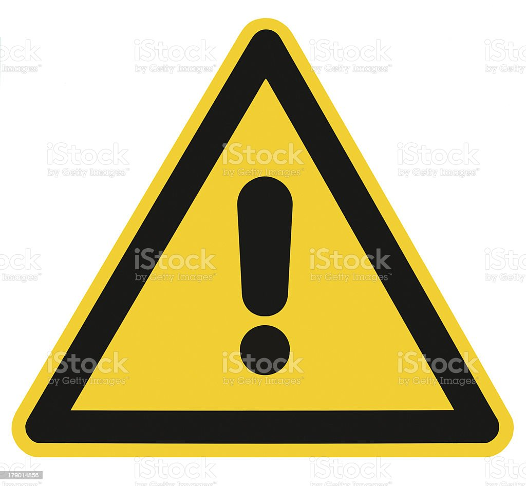 Blank Danger And Hazard Triangle Warning Sign Isolated Macro stock photo