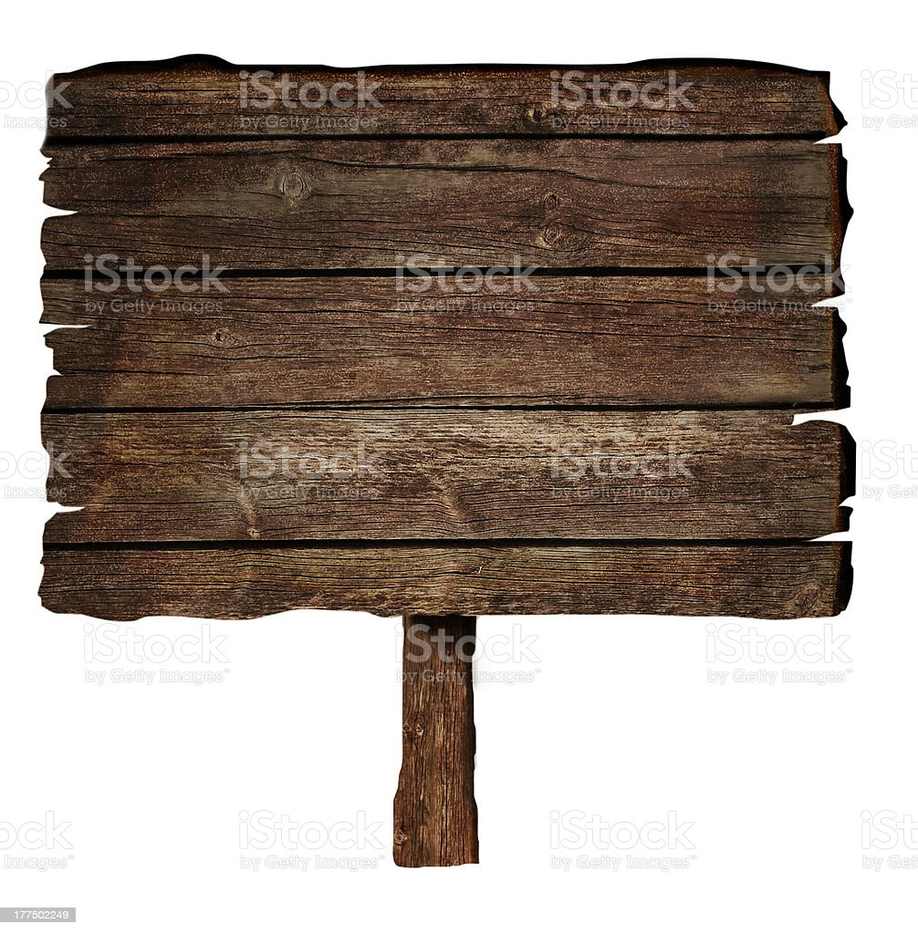 Blank dark brown wooden sign on white background stock photo