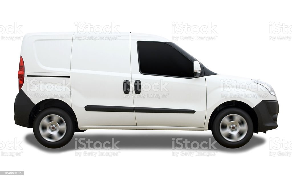 Blank Delivery Van with Clipping Path royalty-free stock photo