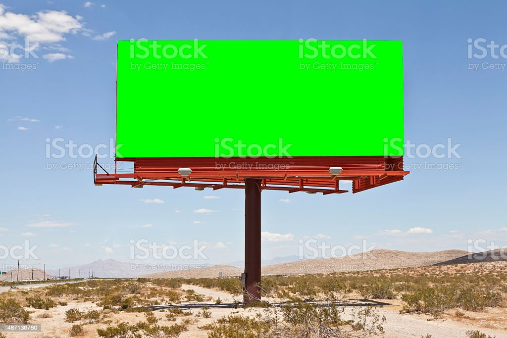 Blank Desert Billboard with Chroma Key Green