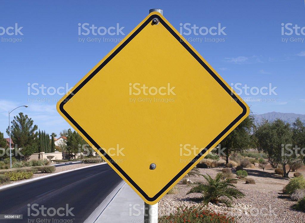 Vuoto segno Strada del deserto foto stock royalty-free