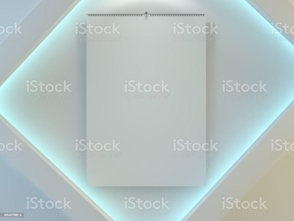 Plantilla De Calendario De Diseño En Blanco Con Abrir La Tapa Con ...