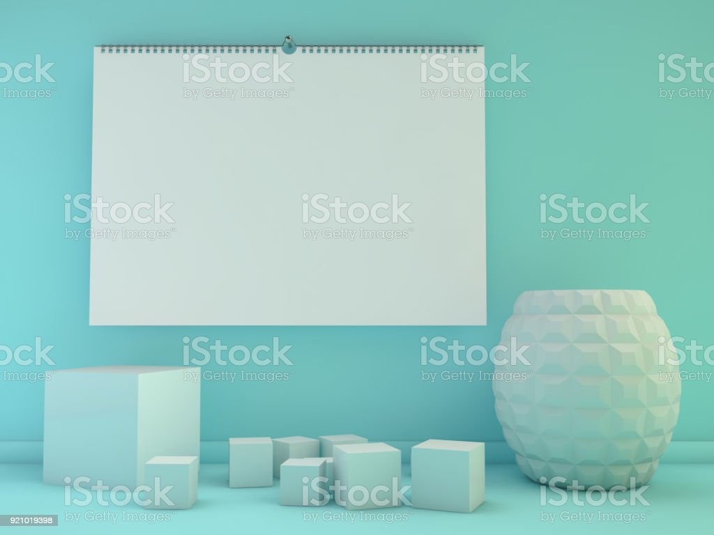 Blank design horizontal calendar template with soft shadows. 3D stock photo