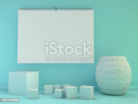 Blank Design Horizontal Calendar Template With Soft Shadows 3d Stock