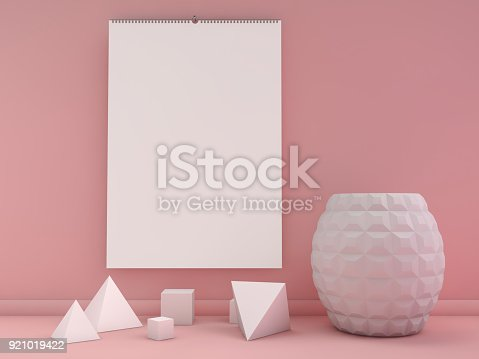 Blank Design Vertical Calendar Template With Soft Shadows 3d Stock