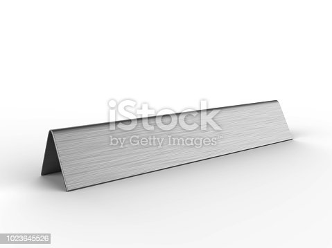 istock Blank desk name plate metal for office home interior. 3d render illustration. 1023645526
