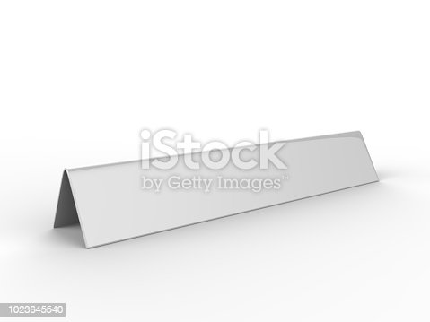 istock Blank desk name plate metal for office home interior. 3d render illustration. 1023645540