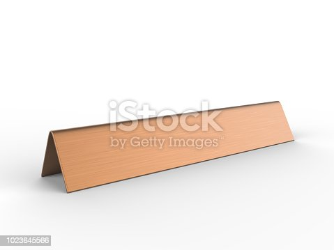istock Blank desk name plate metal for office home interior. 3d render illustration. 1023645566