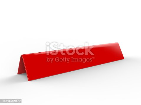 istock Blank desk name plate metal for office home interior. 3d render illustration. 1023645572