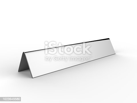 istock Blank desk name plate metal for office home interior. 3d render illustration. 1023645580