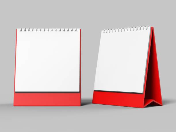 calendrier de top blanc bureau isolé sur fond blanc pour les conceptions mock up et impression. illustration de rendu 3d. - calendrier digital journée photos et images de collection