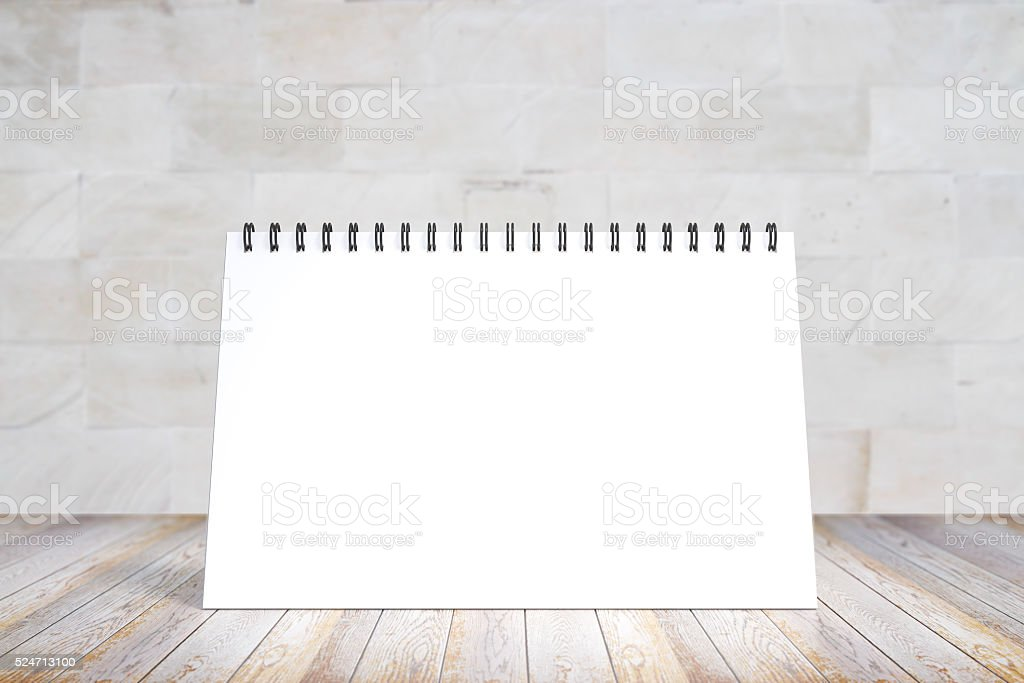 Blank diary cover on wooden table, mock up stock photo