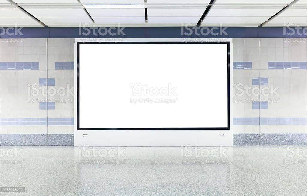 Blank digital advertisement board with white screen in modern subway stock photo