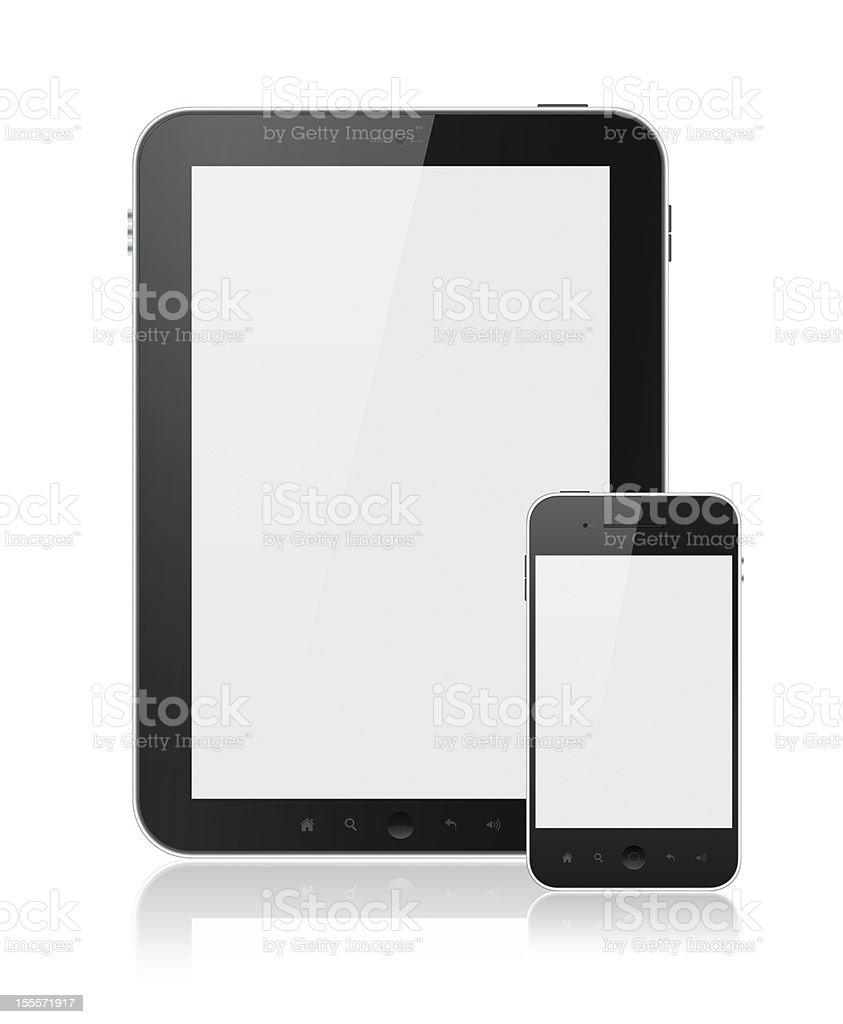 Blank digital tablet and smart phone over a white backdrop stock photo