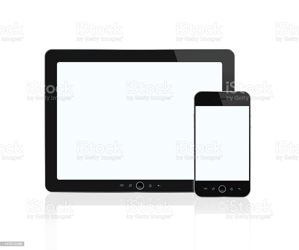 Blank digital tablet and smart phone with clipping path stock photo