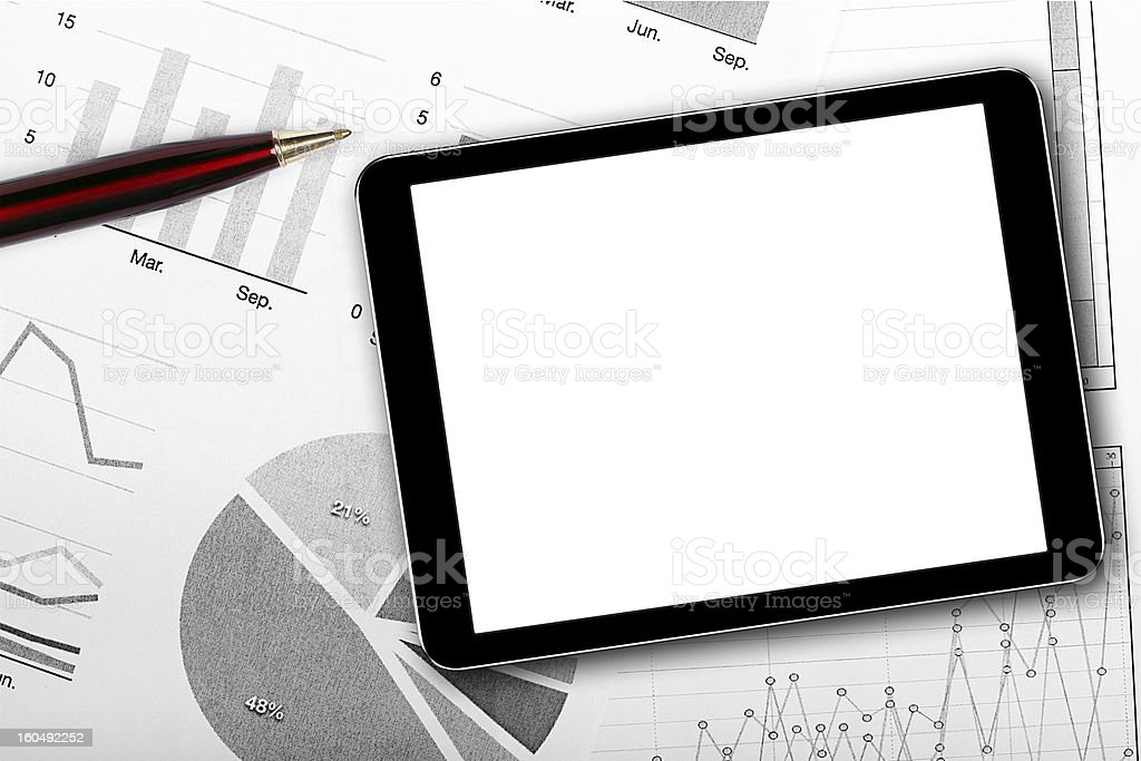 blank digital tablet on business documents royalty-free stock photo
